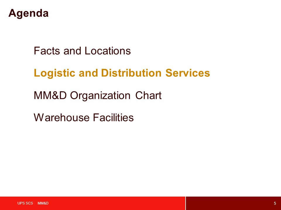 5 UPS SCS MM&D Agenda Facts and Locations Logistic and Distribution Services MM&D Organization Chart Warehouse Facilities