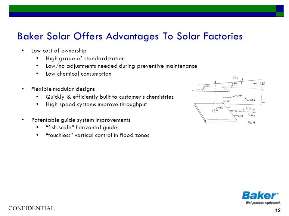 CONFIDENTIAL 12 Baker Solar Offers Advantages To Solar Factories Low cost of ownership High grade of standardization Low/no adjustments needed during