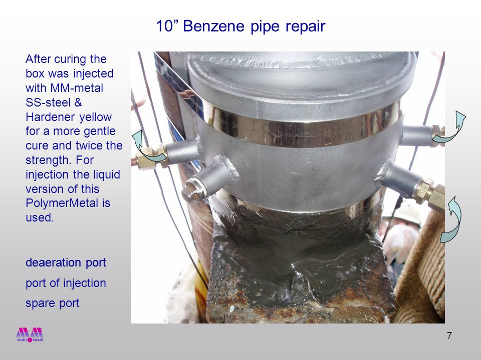 7 10 Benzene pipe repair port of injection deaeration port After curing the box was injected with MM-metal SS-steel & Hardener yellow for a more gentle cure and twice the strength.
