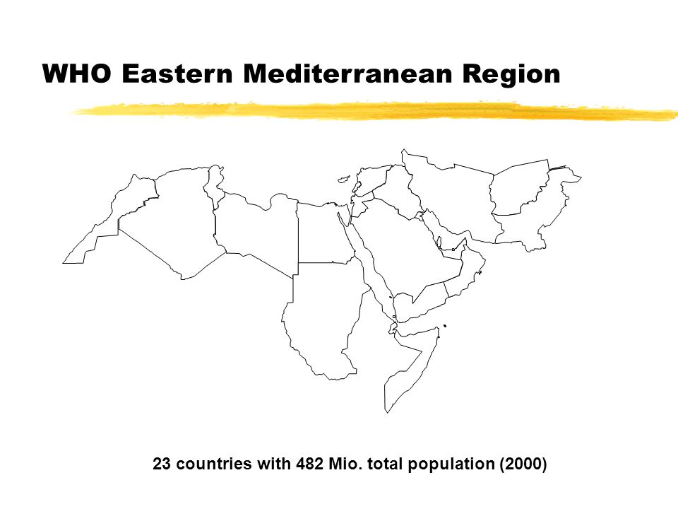 WHO Eastern Mediterranean Region 23 countries with 482 Mio. total population (2000)
