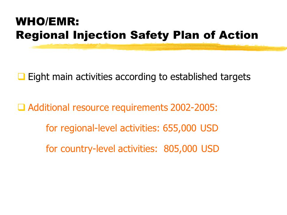 WHO/EMR: Regional Injection Safety Plan of Action Eight main activities according to established targets Additional resource requirements 2002-2005: for regional-level activities: 655,000 USD for country-level activities: 805,000 USD