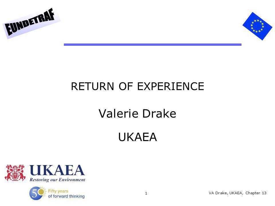 1 RETURN OF EXPERIENCE Valerie Drake UKAEA VA Drake, UKAEA, Chapter 13