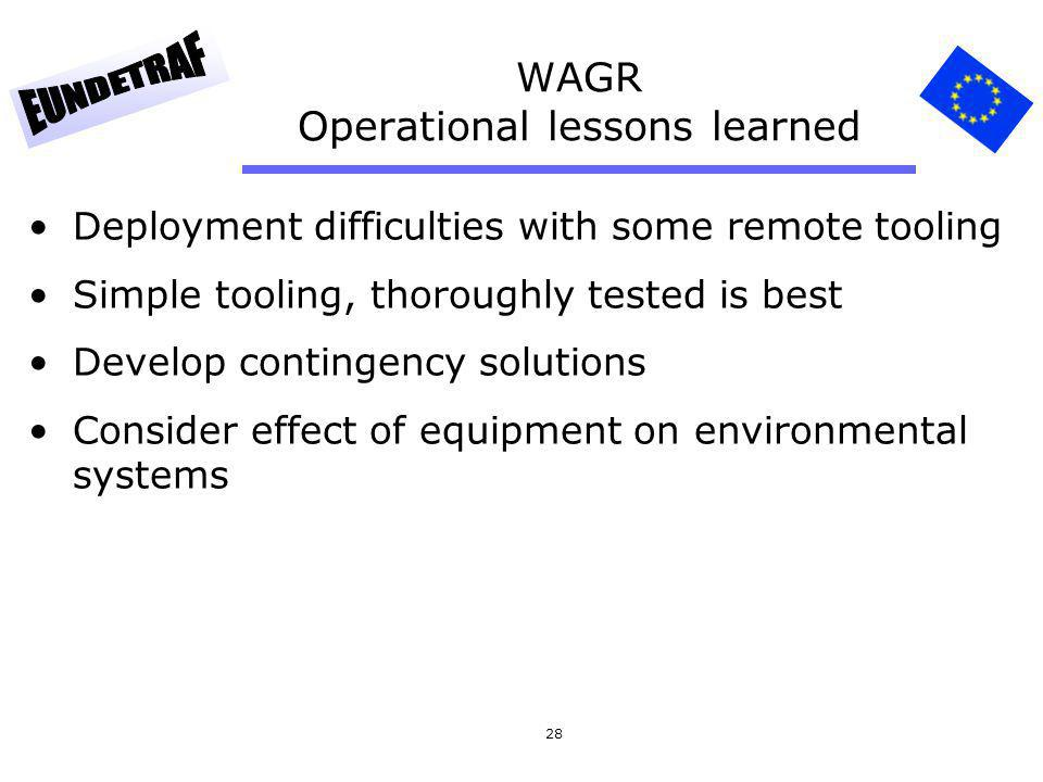 28 WAGR Operational lessons learned Deployment difficulties with some remote tooling Simple tooling, thoroughly tested is best Develop contingency sol