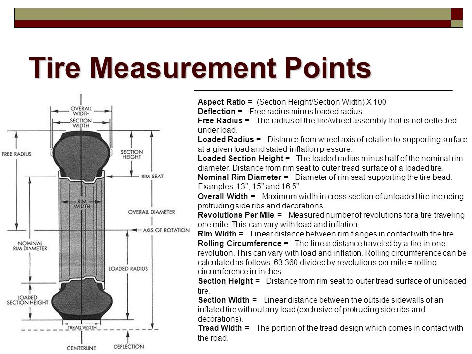 Tire Measurement Points Aspect Ratio = (Section Height/Section Width) X 100 Deflection = Free radius minus loaded radius. Free Radius = The radius of