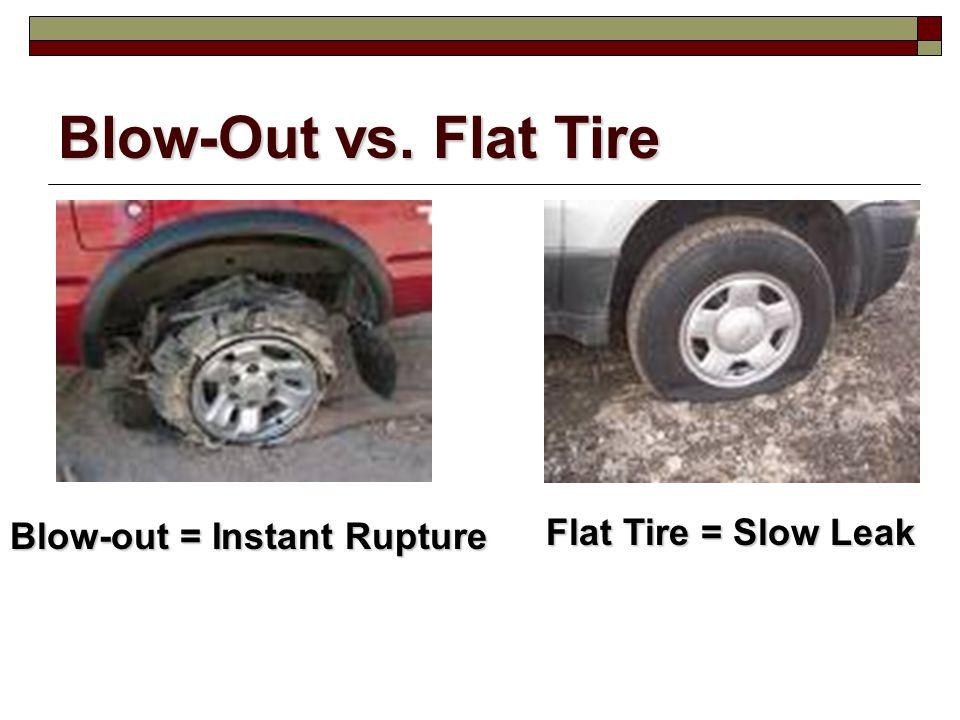 Blow-Out vs. Flat Tire Blow-out = Instant Rupture Flat Tire = Slow Leak