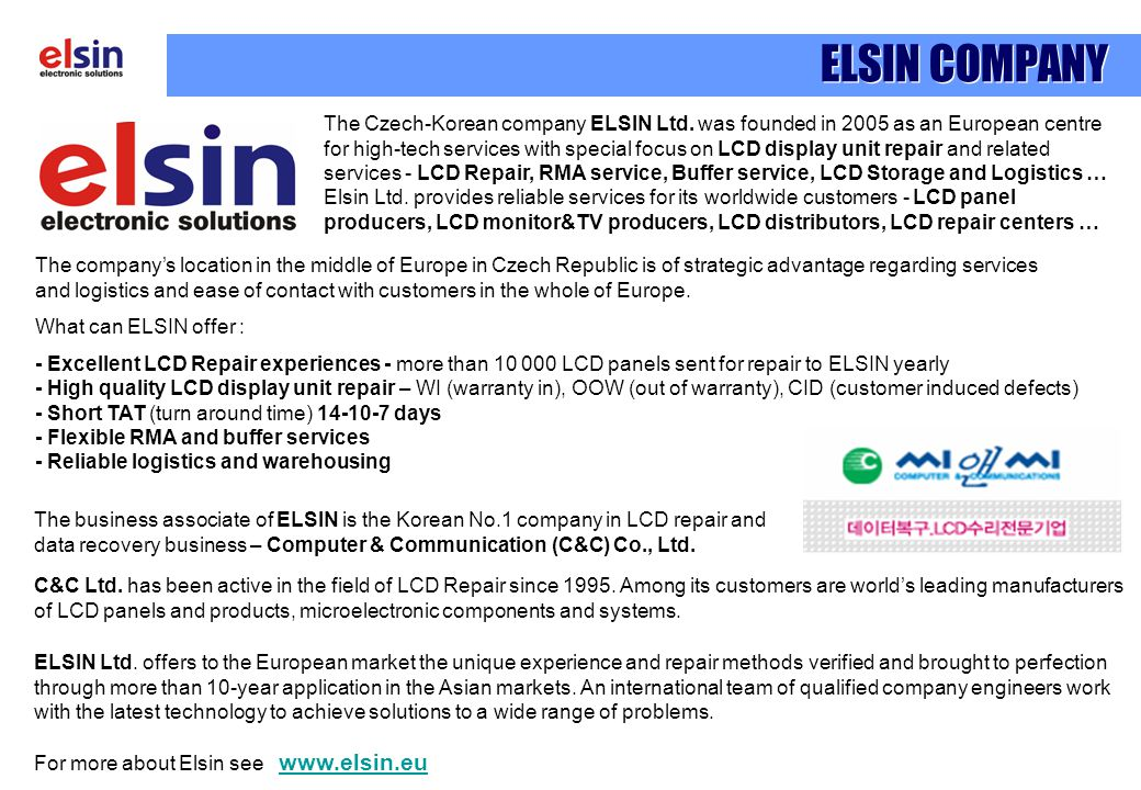 ELSIN Ltd. offers to the European market the unique experience and repair methods verified and brought to perfection through more than 10-year applica