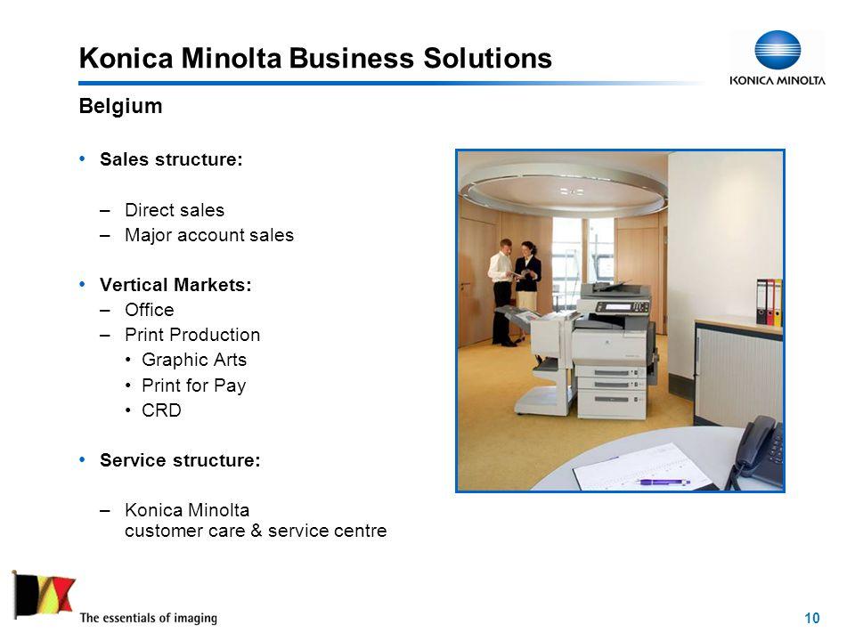 10 Konica Minolta Business Solutions Sales structure: –Direct sales –Major account sales Vertical Markets: –Office –Print Production Graphic Arts Print for Pay CRD Service structure: –Konica Minolta customer care & service centre Belgium