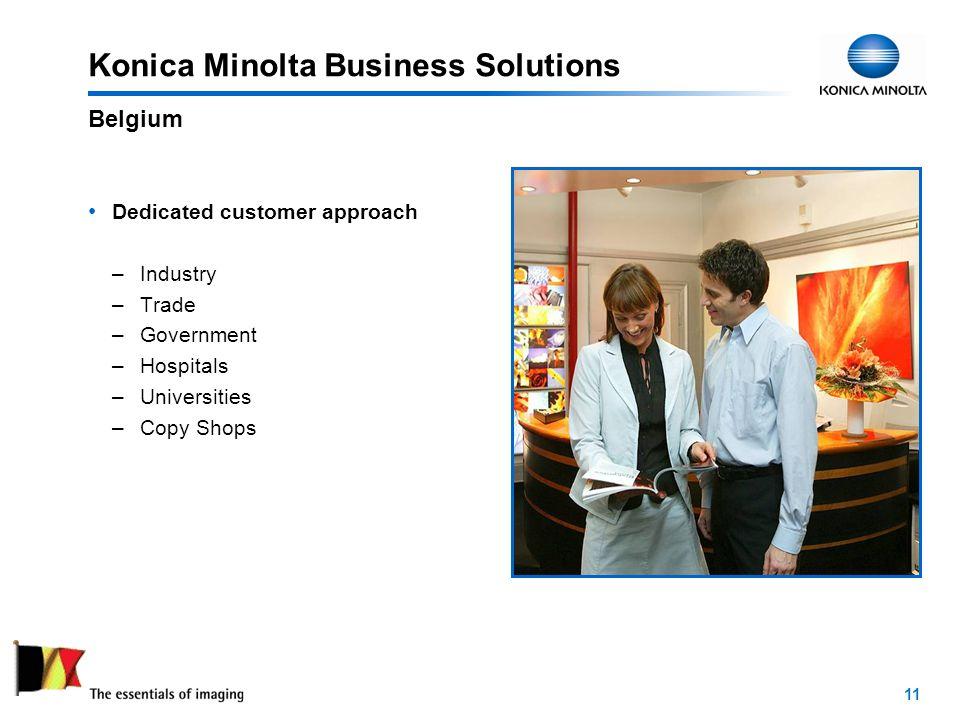 11 Konica Minolta Business Solutions Dedicated customer approach –Industry –Trade –Government –Hospitals –Universities –Copy Shops Belgium