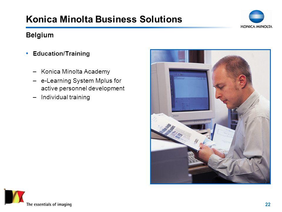 22 Konica Minolta Business Solutions Education/Training –Konica Minolta Academy –e-Learning System Mplus for active personnel development –Individual training Belgium
