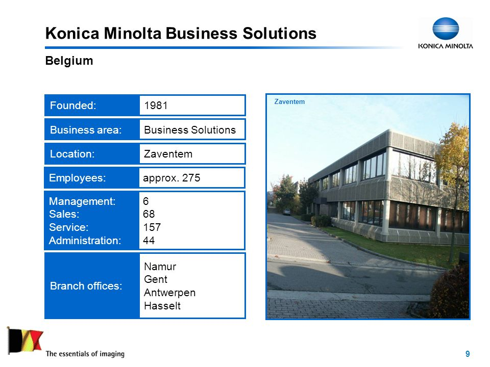 9 Headquarters in Zaventem Konica Minolta Business Solutions Belgium Founded:1981Employees:approx.