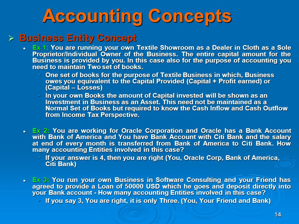 14 Accounting Concepts Business Entity Concept Business Entity Concept Ex 1: You are running your own Textile Showroom as a Dealer in Cloth as a Sole