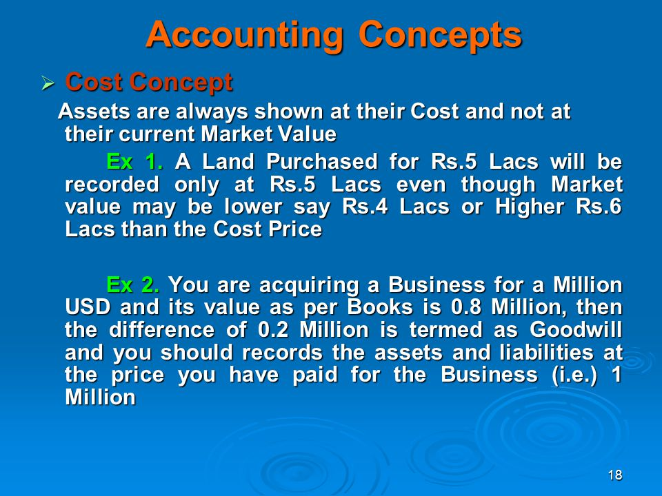 18 Accounting Concepts Cost Concept Cost Concept Assets are always shown at their Cost and not at their current Market Value Assets are always shown a