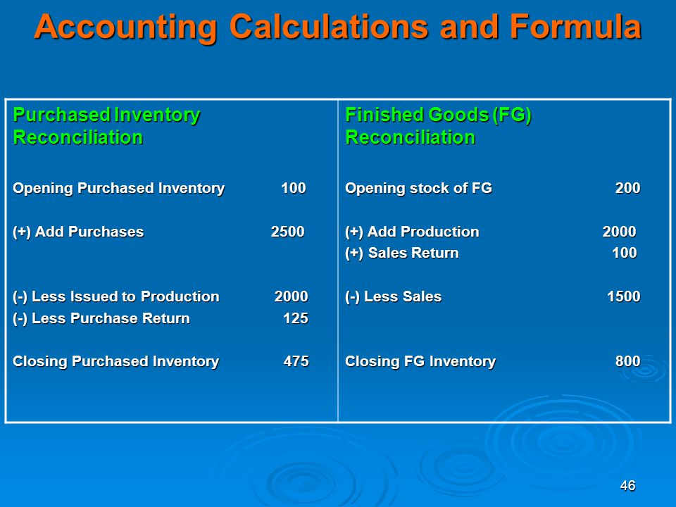 46 Accounting Calculations and Formula Purchased Inventory Reconciliation Opening Purchased Inventory 100 (+) Add Purchases 2500 (-) Less Issued to Pr