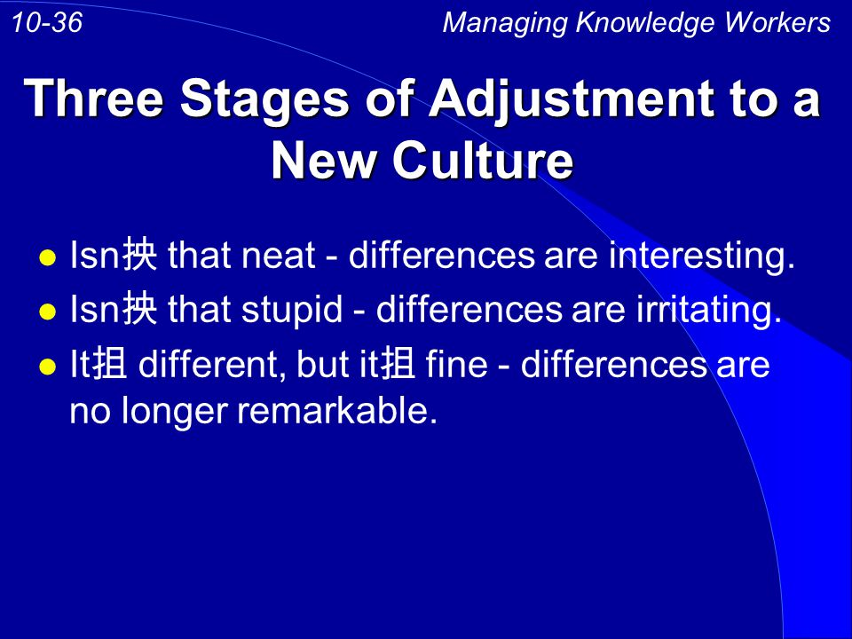 Three Stages of Adjustment to a New Culture Managing Knowledge Workers10-36 l Isn that neat - differences are interesting.