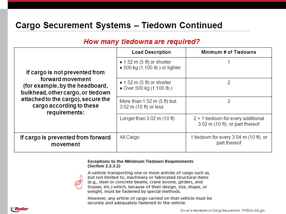 Cargo Securement Systems – Tiedown Continued How many tiedowns are required? If cargo is not prevented from forward movement (for example, by the head
