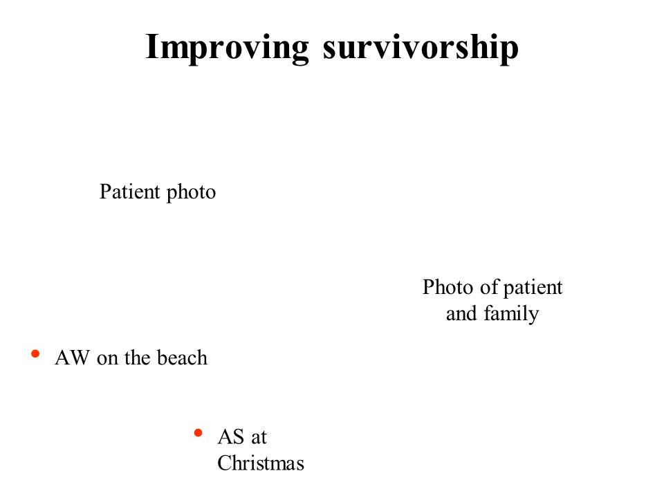 Improving survivorship AW on the beach AS at Christmas Patient photo Photo of patient and family