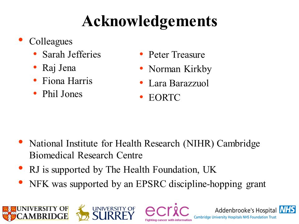 Acknowledgements Colleagues Sarah Jefferies Raj Jena Fiona Harris Phil Jones National Institute for Health Research (NIHR) Cambridge Biomedical Research Centre RJ is supported by The Health Foundation, UK NFK was supported by an EPSRC discipline-hopping grant Peter Treasure Norman Kirkby Lara Barazzuol EORTC