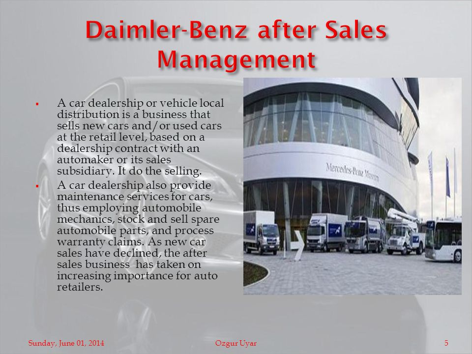 A car dealership or vehicle local distribution is a business that sells new cars and/or used cars at the retail level, based on a dealership contract with an automaker or its sales subsidiary.