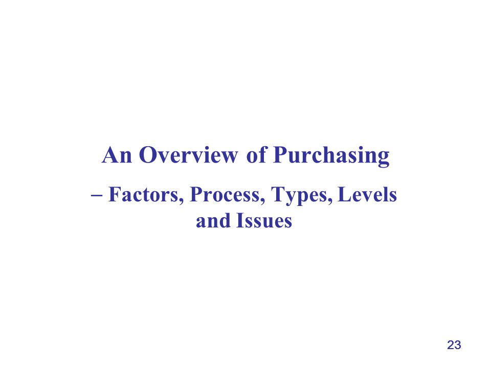 23 An Overview of Purchasing Factors, Process, Types, Levels and Issues