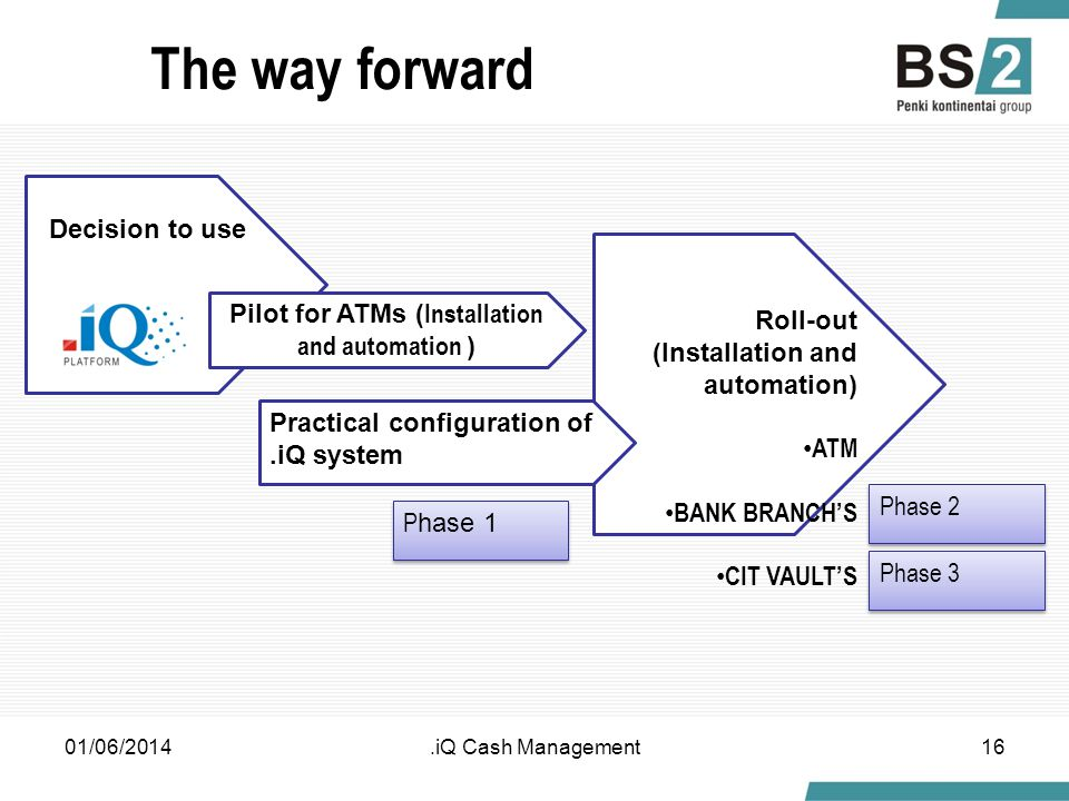 The way forward 01/06/2014.iQ Cash Management16 Roll-out (Installation and automation) ATM BANK BRANCHS CIT VAULTS Decision to use Pilot for ATMs ( Installation and automation ) Practical configuration of.iQ system P hase 1 Phase 2 Phase 3