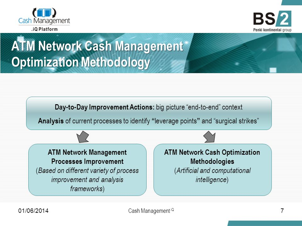 ATM Network Cash Management Optimization Methodology ATM Network Management Processes Improvement ( Based on different variety of process improvement and analysis frameworks ) ATM Network Cash Optimization Methodologies ( Artificial and computational intelligence ) Day-to-Day Improvement Actions: big picture end-to-end context Analysis of current processes to identify leverage points and surgical strikes 01/06/20147 Cash Management.iQ