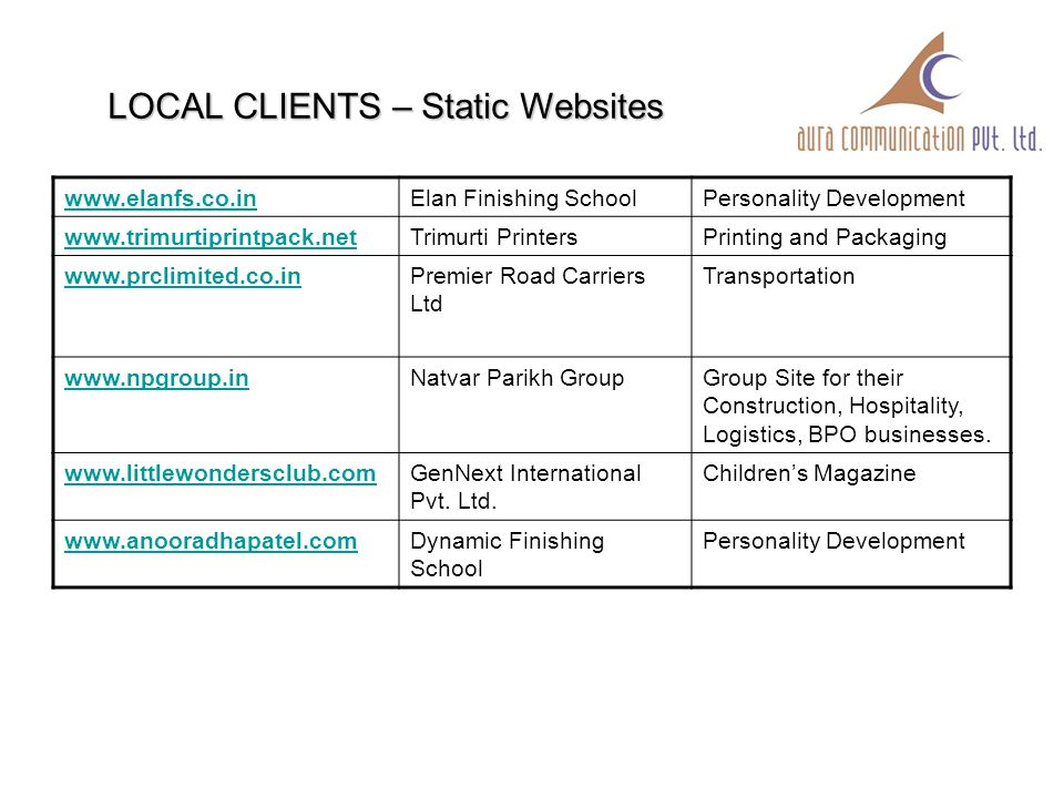 INTERNATIONAL CLIENTS www.kalavaalarchitects.com:Kalavaal Architects, Dubai Architecture Firm www.pamcal.com :Pamcal Process Management, Dubai Finance www.advmedny.com:Advance Medical Care, PLLC, New York Medical Hospital www.clarestahomes.com:Claresta Builders, Texas, USA Construction www.femcare.usFem CarePersonal Hygeine Products www.rayimm.comFakhoury and RayBusiness and Employment Immigration Law Firm