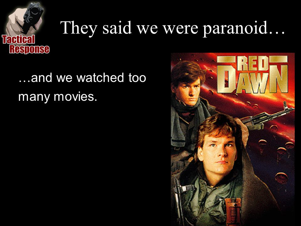 They said we were paranoid… …and we watched too many movies.
