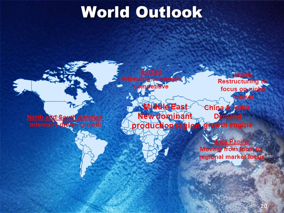 20 World Outlook North and South America internally driven growth China & India Demand growth engine Middle East New dominant production region Asia Pacific Moving from local to regional market focus Europe Adjusting to remain competitive Japan Restructuring to focus on niche market