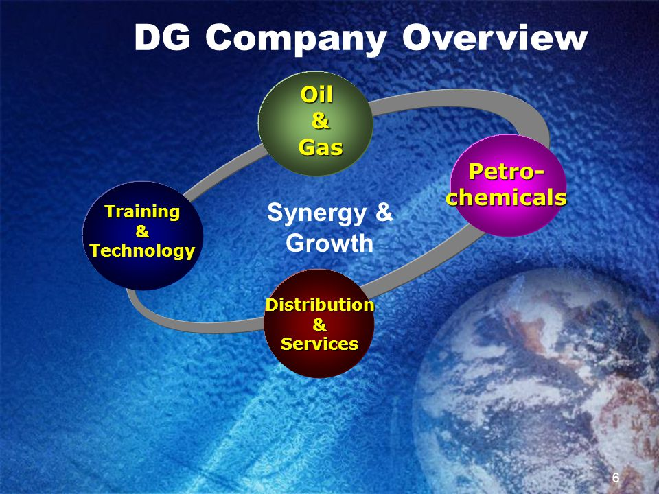 7 Vision To become a global company that provides the oil and gas and the petrochemical industries with supreme services Mission To perform oil and gas and petrochemical services via forming partnerships, joint ventures, and sponsoring agency services, and establishing subsidiaries DG Company Overview