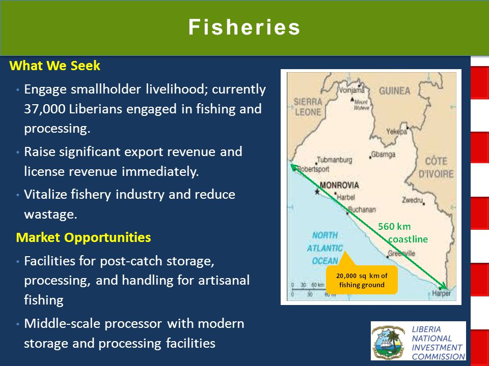 National Investment Commission Government of Liberia Fisheries What We Seek Engage smallholder livelihood; currently 37,000 Liberians engaged in fishi