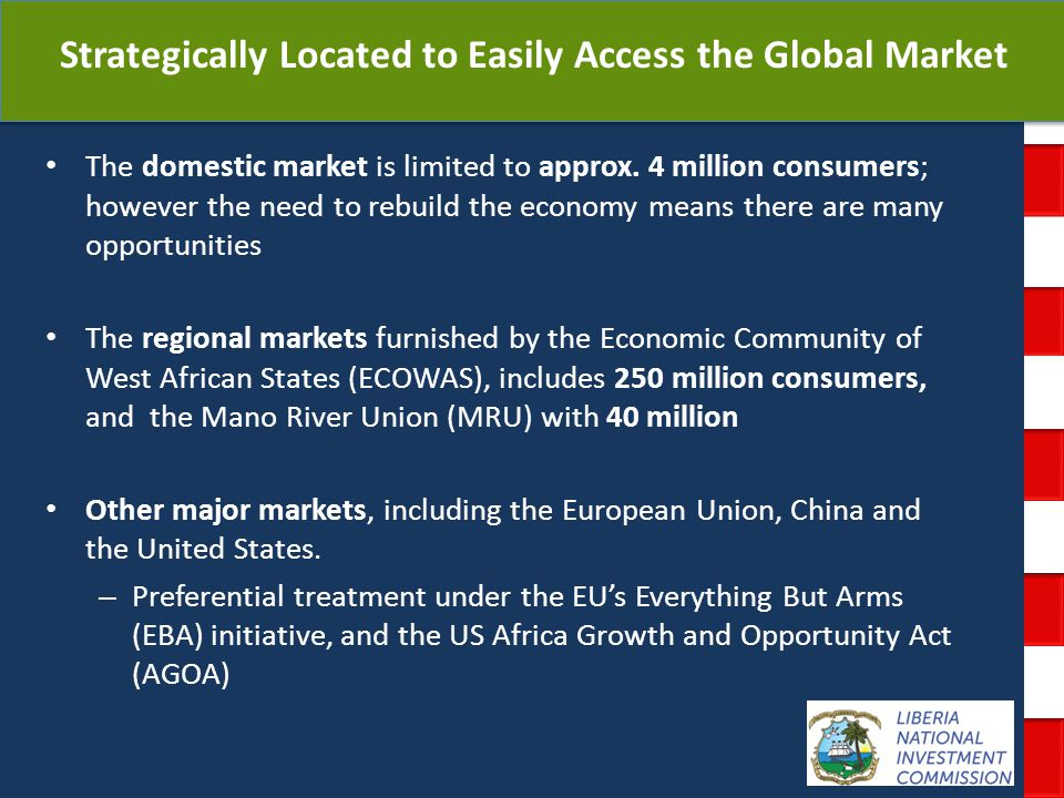 National Investment Commission Government of Liberia Strategically Located to Easily Access the Global Market The domestic market is limited to approx