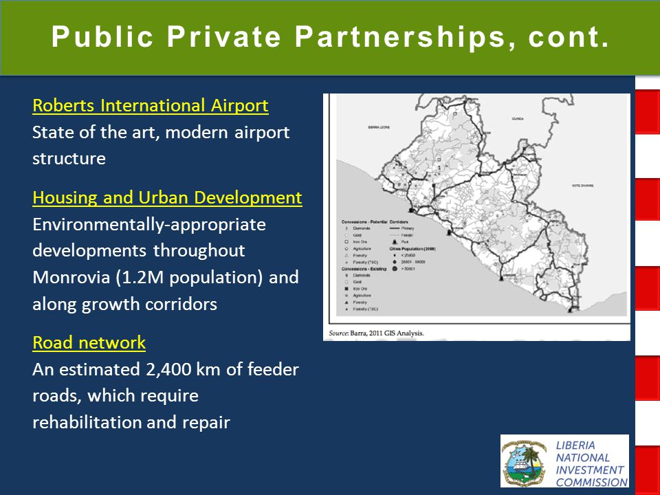 National Investment Commission Government of Liberia Public Private Partnerships, cont. Roberts International Airport State of the art, modern airport