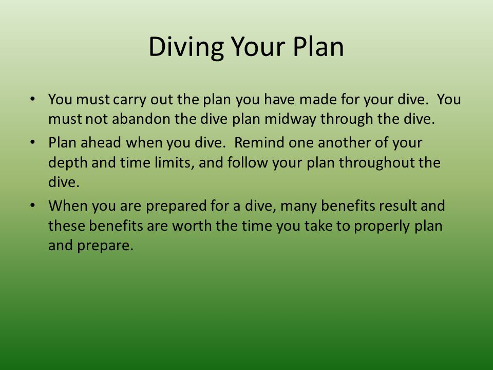 Diving Your Plan You must carry out the plan you have made for your dive.