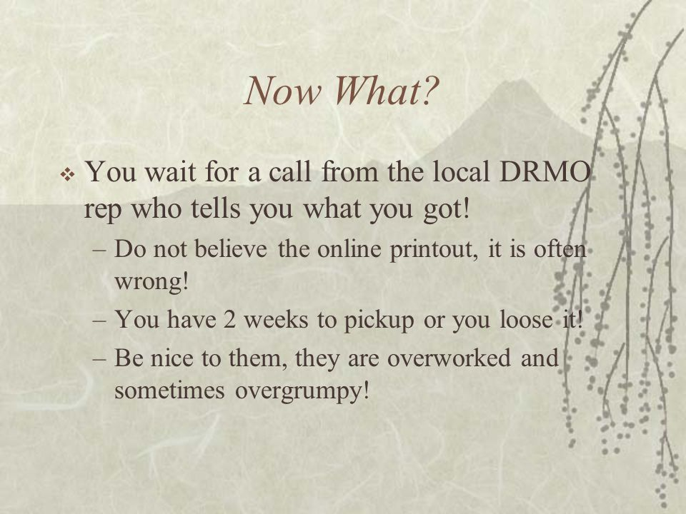 Now What? You wait for a call from the local DRMO rep who tells you what you got! –Do not believe the online printout, it is often wrong! –You have 2