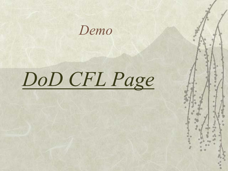 Demo DoD CFL Page