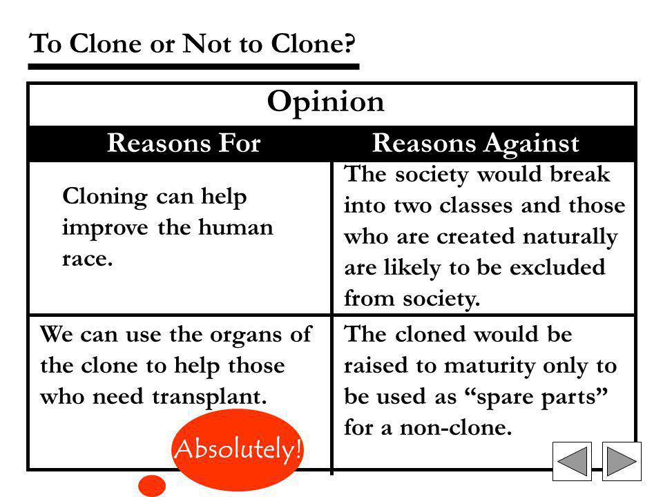 Its unfair to the clone to grow up in a totally different environment with the expectation of being a scientific genius. To Clone or Not to Clone? Opi