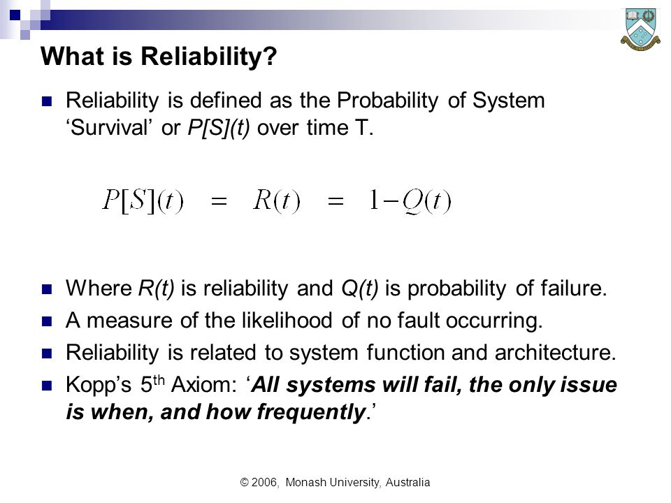 © 2006, Monash University, Australia Defining System Reliability System Reliability includes the following components: 1.