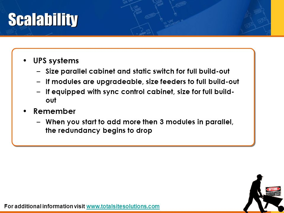 Scalability UPS systems – Size parallel cabinet and static switch for full build-out – If modules are upgradeable, size feeders to full build-out – If