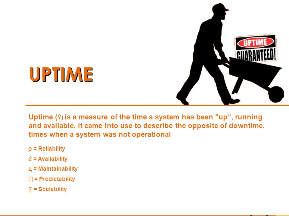 UPTIME Uptime ( Ŷ) is a measure of the time a system has been