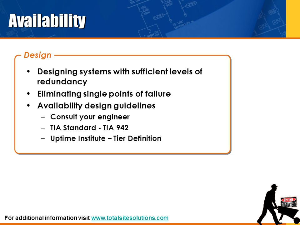 Availability Designing systems with sufficient levels of redundancy Eliminating single points of failure Availability design guidelines – Consult your