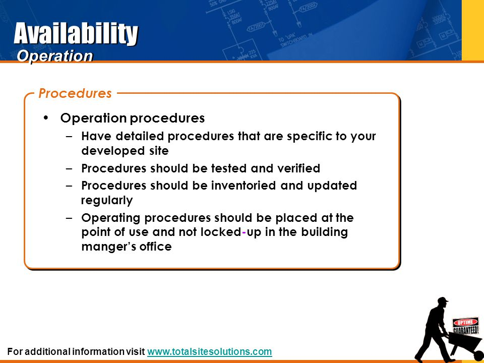 Availability Operation procedures – Have detailed procedures that are specific to your developed site – Procedures should be tested and verified – Pro