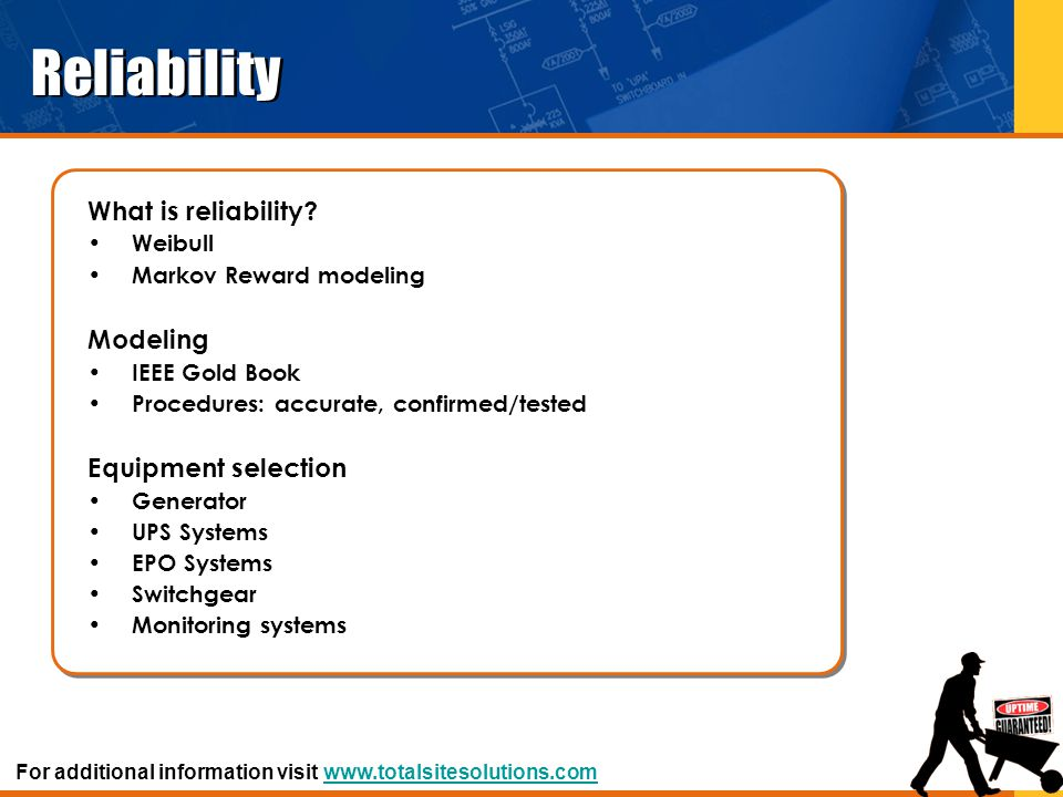 Reliability What is reliability? Weibull Markov Reward modeling Modeling IEEE Gold Book Procedures: accurate, confirmed/tested Equipment selection Gen