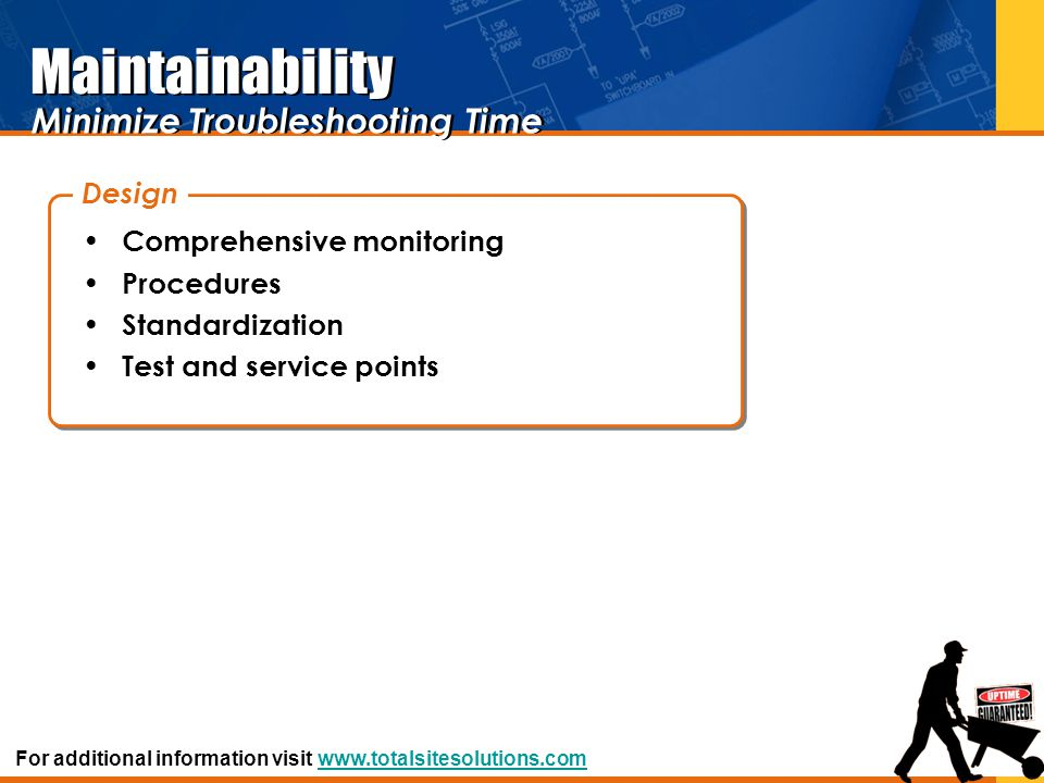 Maintainability Comprehensive monitoring Procedures Standardization Test and service points Design Minimize Troubleshooting Time For additional inform