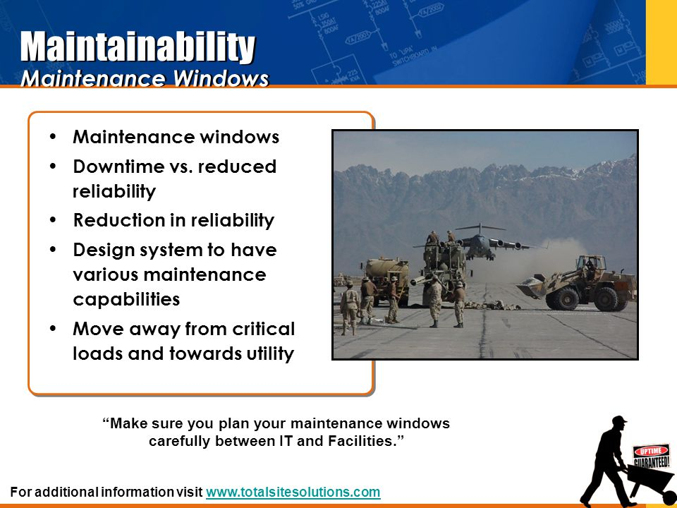 Maintenance windows Downtime vs. reduced reliability Reduction in reliability Design system to have various maintenance capabilities Move away from cr