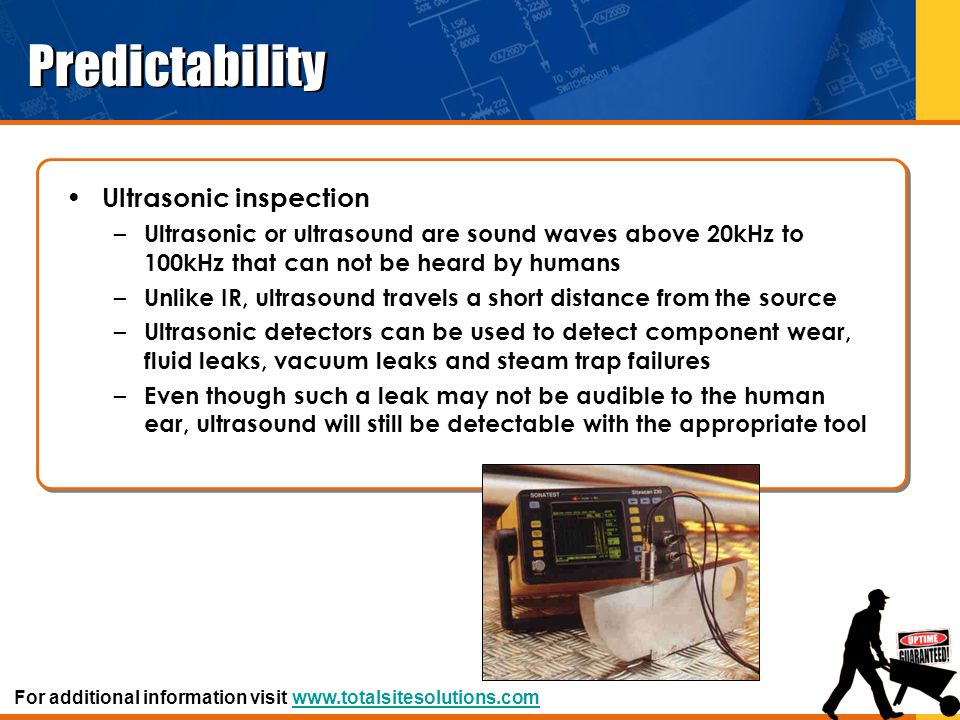 Predictability Ultrasonic inspection – Ultrasonic or ultrasound are sound waves above 20kHz to 100kHz that can not be heard by humans – Unlike IR, ult
