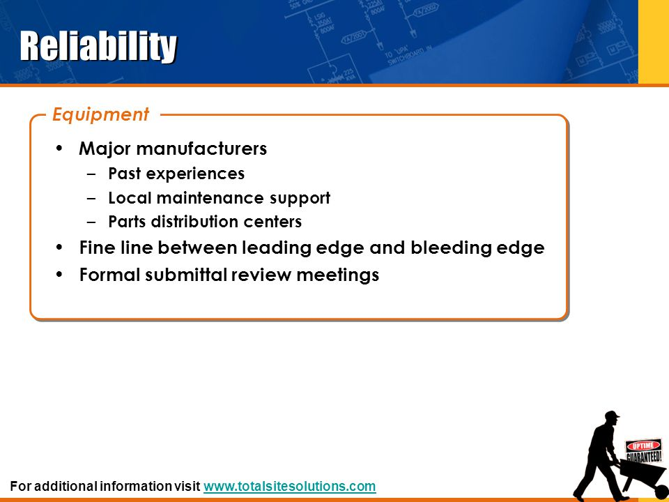 Predictability Balance – Reduce wear and tear on bearings, shafts and motors – Can be detected with the use of infrared cameras and vibration meters – Requires balancing equipment to verify and correct balancing For additional information visit www.totalsitesolutions.comwww.totalsitesolutions.com