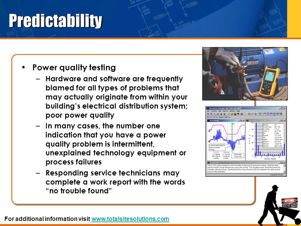 Predictability Power quality testing – Hardware and software are frequently blamed for all types of problems that may actually originate from within y