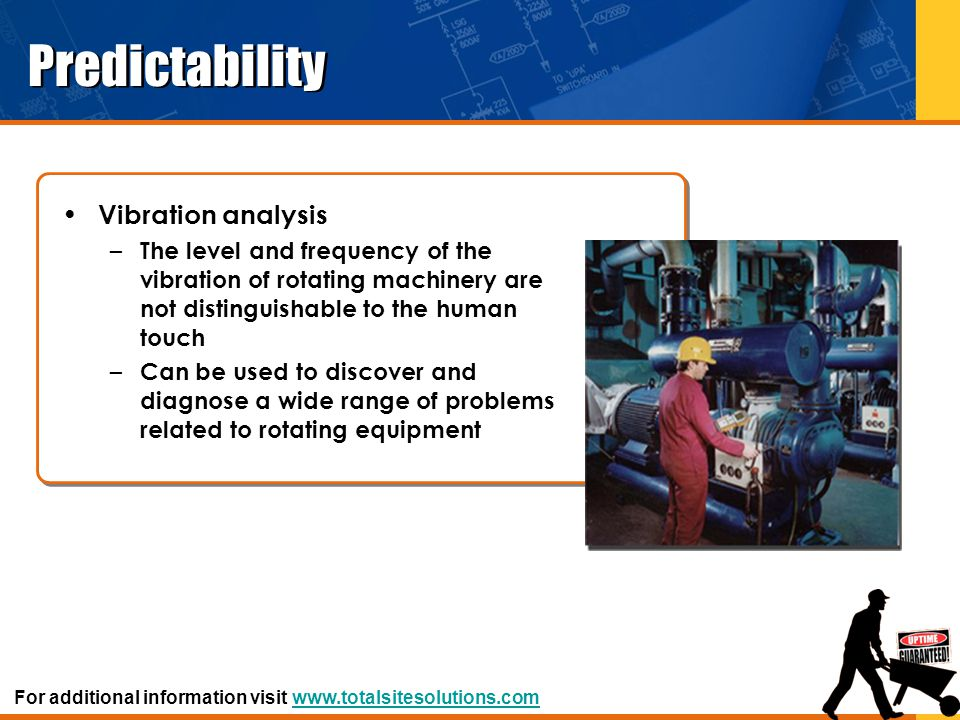 Predictability Vibration analysis – The level and frequency of the vibration of rotating machinery are not distinguishable to the human touch – Can be