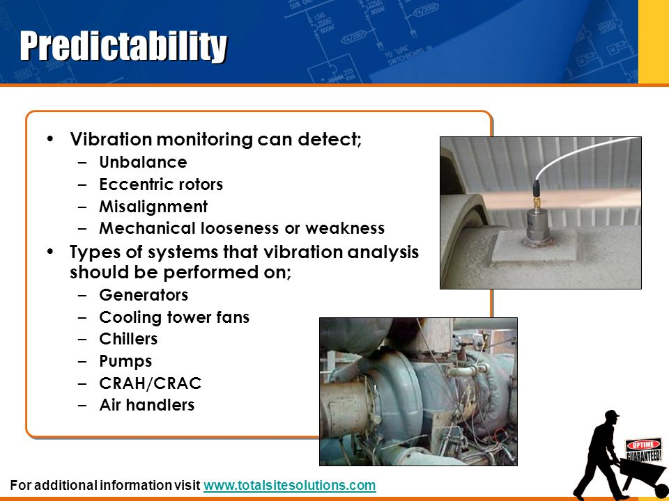 Predictability Vibration monitoring can detect; – Unbalance – Eccentric rotors – Misalignment – Mechanical looseness or weakness Types of systems that