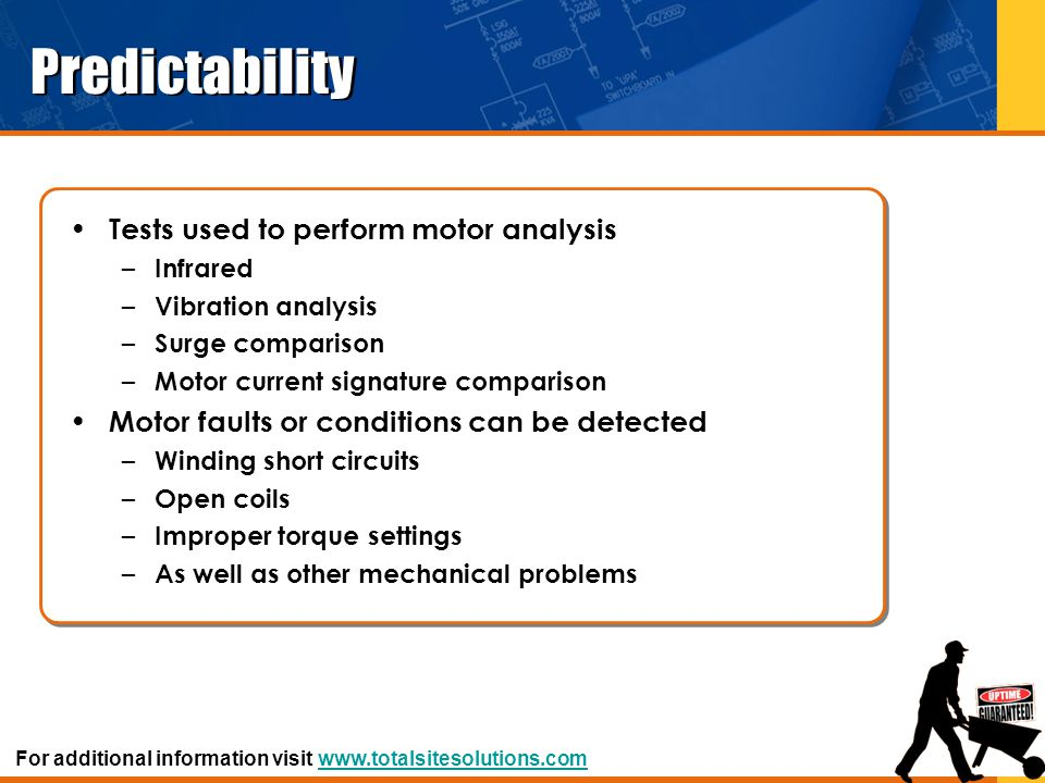 Predictability Tests used to perform motor analysis – Infrared – Vibration analysis – Surge comparison – Motor current signature comparison Motor faul
